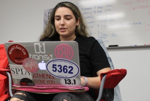 Juliana Lima, 20, a political science and world languages education double major, from Sao Paulo, Brazil, uses her MacBook Air for everything. Lima said her MacBook was the best investment she and her parents made and never has to worry about it crashing.